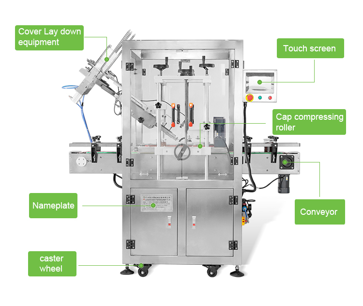 Compressing cap capping machine