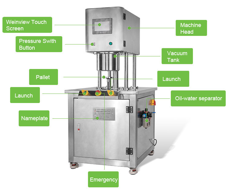 Industrial meat vacuum sealing machine for tin can with